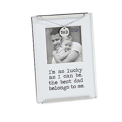 Mud Pie Dad 2.5-Inch x 2.5-Inch Clip Picture Frame in White