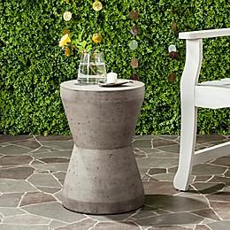 Safavieh Torre Round Concrete Indoor/Outdoor Accent Drum  Table in Dark Grey