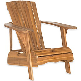 Safavieh Vista Adirondack Chair with Drink Holder in Teak Brown