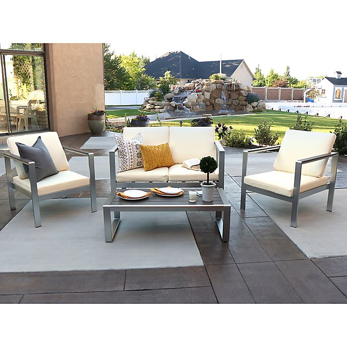 Alternate image 1 for Forest Gate Fieldstone 4-Piece Outdoor Chat Set with Cushions in Silver