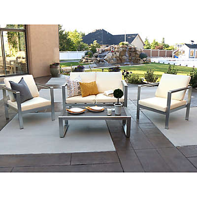 Forest Gate Fieldstone 4-Piece Outdoor Chat Set with Cushions in Silver