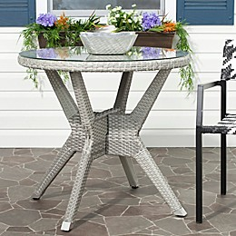 Safavieh Langer Round Patio Accent Table in Grey