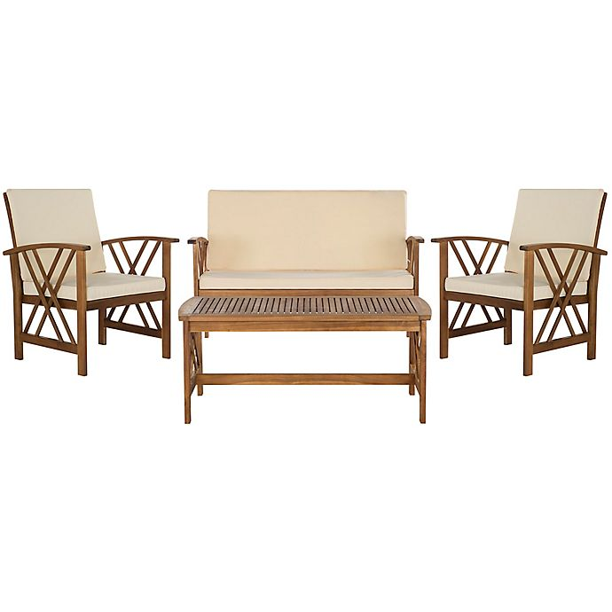 Alternate image 1 for Safavieh Fontana 4-Piece Outdoor Conversation Set with Cushions in Teak