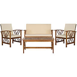 Safavieh Fontana 4-Piece Outdoor Conversation Set with Cushions in Teak