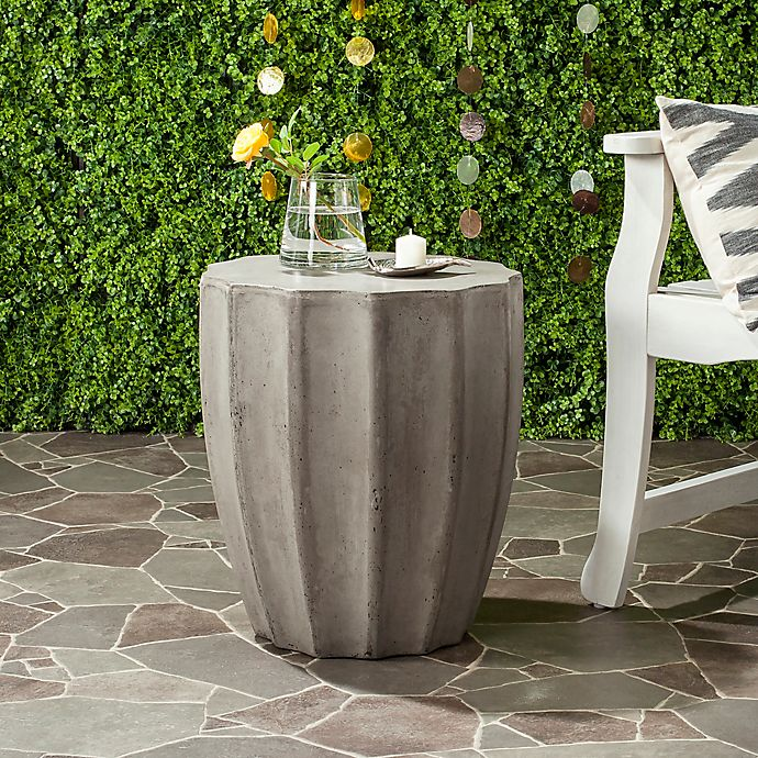 Alternate image 1 for Safavieh Jaslyn Indoor/Outdoor Concrete Accent Table in Dark Grey