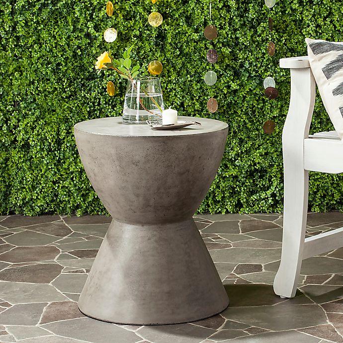 Alternate image 1 for Safavieh Athena Concrete Accent Drum  Table in Dark Grey