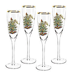 Spode® Christmas Tree Champagne Flutes (Set of 4)