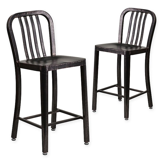 Alternate image 1 for Flash Furniture Metal Stool with Back