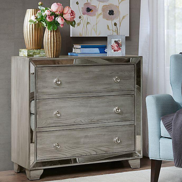Alternate image 1 for Madison Park Garner 3-Drawer Mirrored Chest in Reclaimed Grey