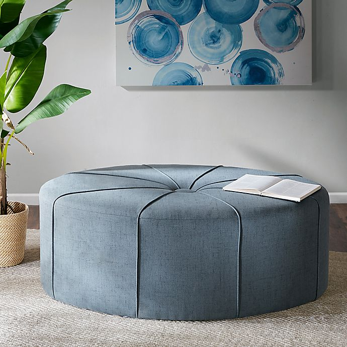 Alternate image 1 for Madison Park Ferris Oval Ottoman in Blue
