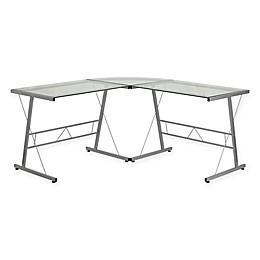 Flash Furniture Clear Glass L-Shaped Desk