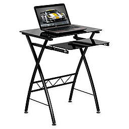 Flash Furniture 29-Inch Clear Tempered Glass Desk in Black