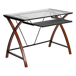 Flash Furniture 23.5-Inch Clear Glass Computer Desk in Cherry
