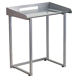 Flash Furniture 32.25-Inch Silver Desk with Clear Tempered Glass
