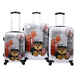Chariot 3-Piece UK Puppy Luggage Set in Grey