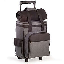 Bey-Berk 4-Person Picnic Trolley with Fleece Blanket in Grey