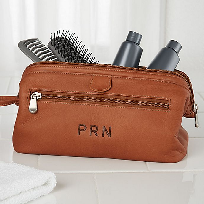 Alternate image 1 for Tan Leather Toiletry Bag