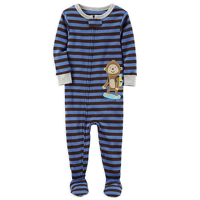 Alternate image 1 for carter's® Monkey Snug-Fit Striped Pajamas in Blue