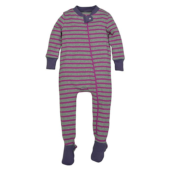 ae3c7be82616 Burt s Bees Baby® Striped Organic Cotton Footed Pajama in Grey ...