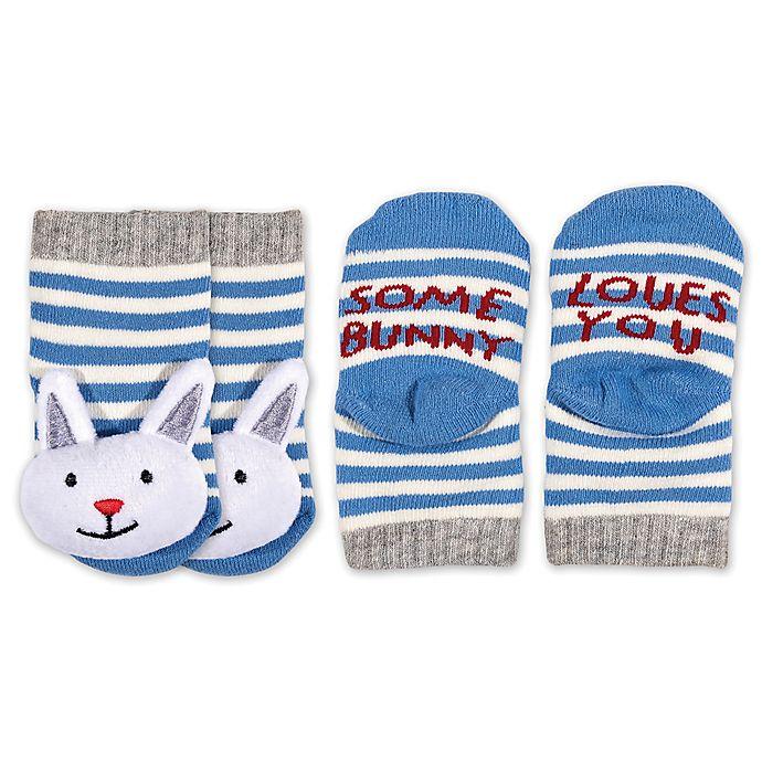 Alternate image 1 for ED Ellen DeGeneres Size 0-6M Bunny Rattle Socks in Blue/Grey