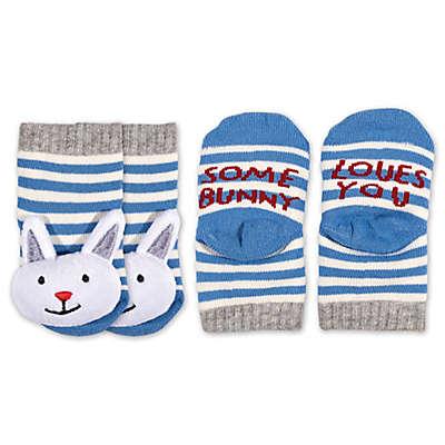 ED Ellen DeGeneres Size 0-6M Bunny Rattle Socks in Blue/Grey