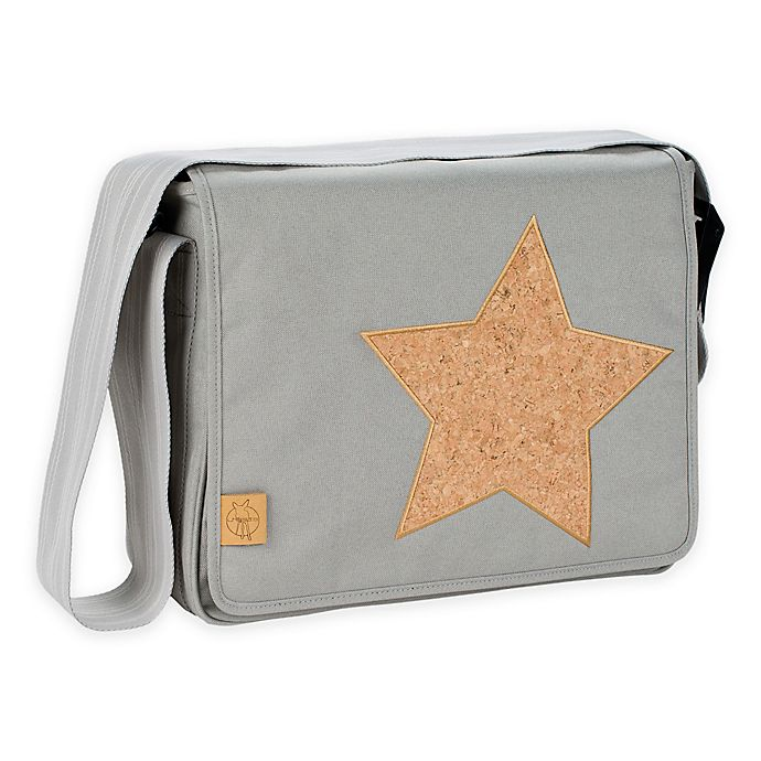 Alternate image 1 for Lassig Casual Messenger Diaper Bag in Light Grey with Cork Star