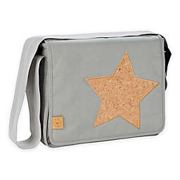 Lassig Casual Messenger Diaper Bag in Light Grey with Cork Star