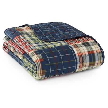 305c15fa Eddie Bauer® Madrona Plaid Throw Blanket in Blue | Bed Bath & Beyond