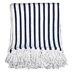 Peri Home Fringe Throw Blanket in Navy