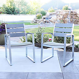 Forest Gate Modern Outdoor Dining Chairs in Grey (Set of 2)