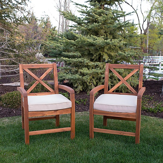 Alternate image 1 for Forest Gate Aspen Acacia Wood Outdoor Chairs with Cushions (Set of 2)