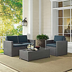 Crosley Palm Harbor 3-Piece Outdoor Grey Wicker Conversation Set with Navy Cushions