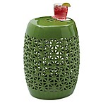 Pierced Ceramic Stool in Lime
