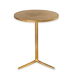 Avery Round Pedestal Table in Brass