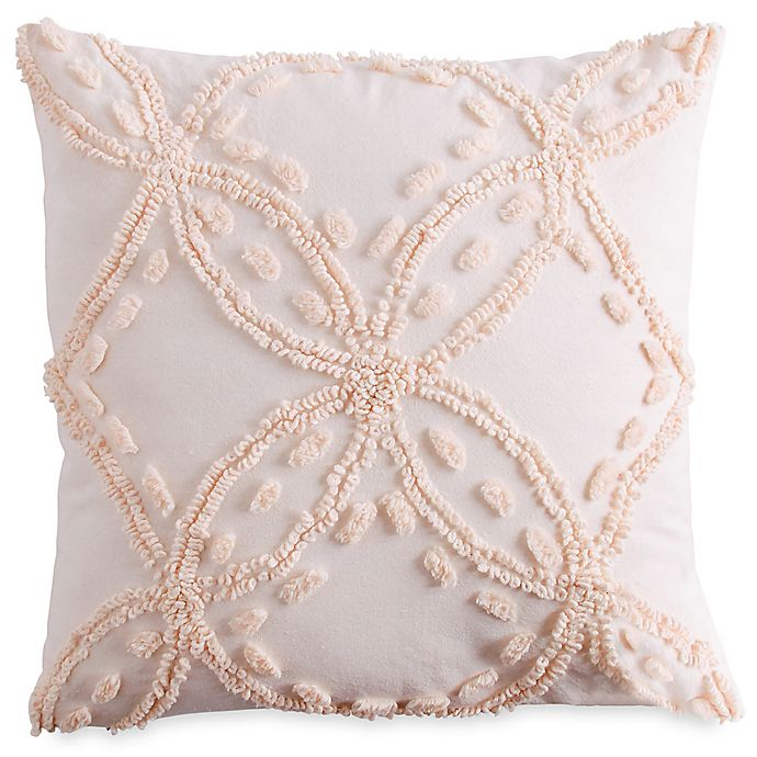 Chenille Lattice Square Throw Pillow In Blush Bed Bath Beyond