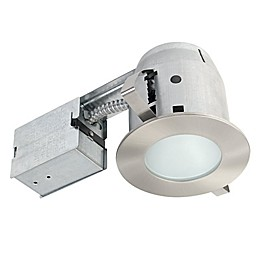 Globe Electric 4-Inch Ceiling-Mount Recessed LED Shower Lighting Kit in Brushed Nickel