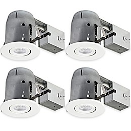 Globe Electric 5-Inch Ceiling-Mount Recessed LED Lighting Kit in White (Set of 4)