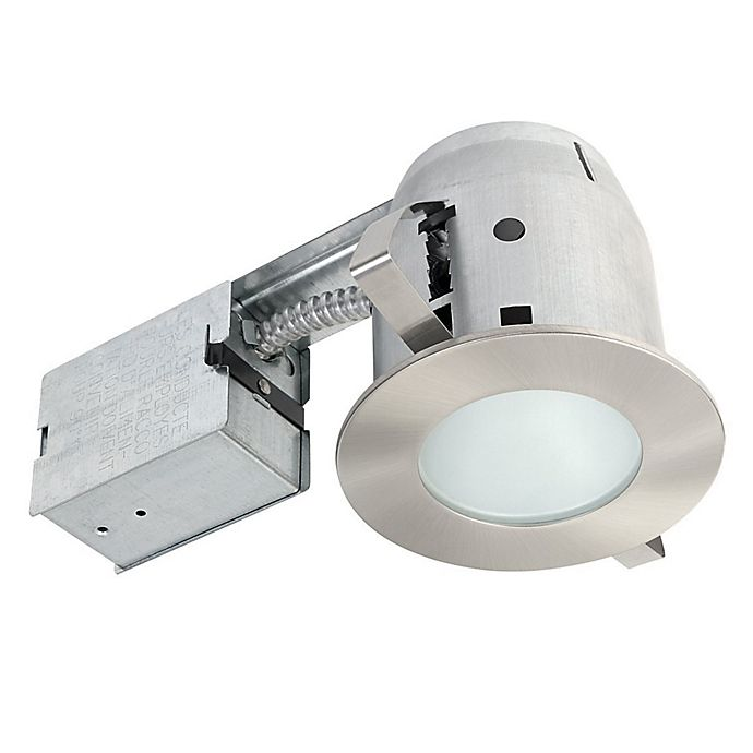 Alternate image 1 for Globe Electric 4-Inch Ceiling-Mount Recessed LED Bathroom Lighting Kit in Brushed Nickel