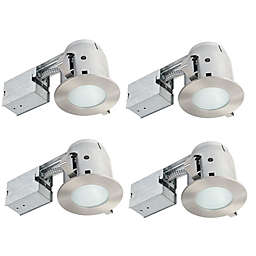 Globe Electric 4-Inch Ceiling-Mount Recessed LED Shower Lighting Kit in Brushed Nickel (Set of 4)