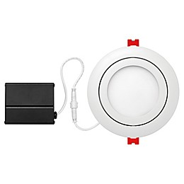 Globe Electric 4-Inch Ceiling-Mount Integrated LED Slim Swivel Recessed Light in White