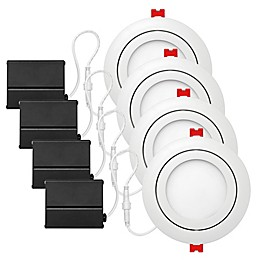 Globe Electric 4-Inch Ceiling-Mount Integrated LED Slim Swivel Recessed Light in White (Set of 4)