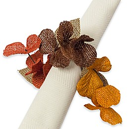 Excell Burlap Wreath Napkin Rings (Set of 4)