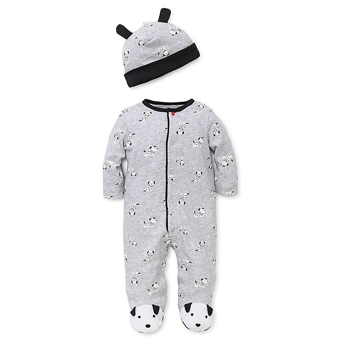 Alternate image 1 for Little Me™ Newborn 2-Piece Dalmatian Footie and Hat Set in Grey