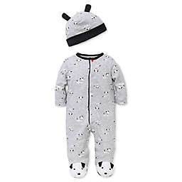 Little Me™ Newborn 2-Piece Dalmatian Footie and Hat Set in Grey