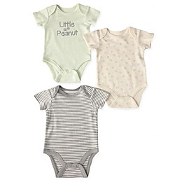 Sterling Baby 3-Pack Little Peanut Bodysuits in Grey