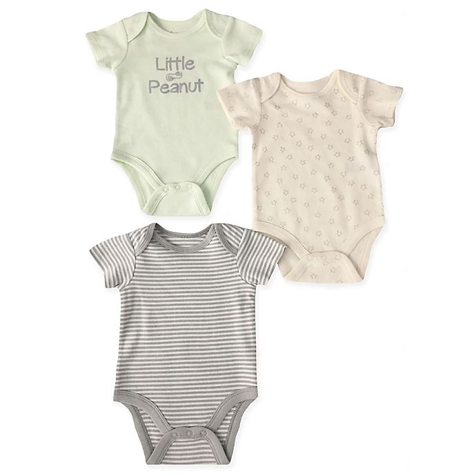 Alternate image 1 for Sterling Baby Newborn 3-Pack Little Peanut Bodysuits in Grey