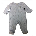 Sterling Baby Newborn Quilted  Hello  Footed Coverall in Blue