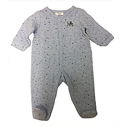 "Sterling Baby Quilted ""Hello"" Footed Coverall in Blue"