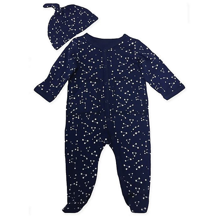 Alternate image 1 for Sterling Baby 2-Piece Constellations Footie and Hat Set in Navy