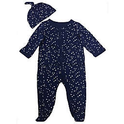 Sterling Baby 2-Piece Constellations Footie and Hat Set in Navy